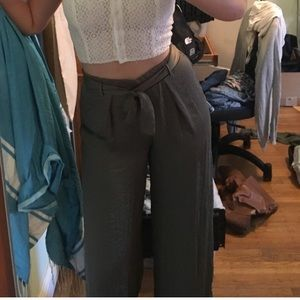 Satin olive high waisted wide leg pants